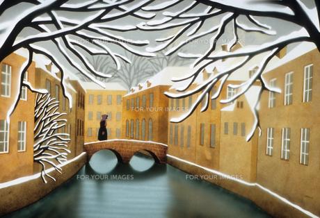 冬の運河のイラスト素材 [FYI00920878]
