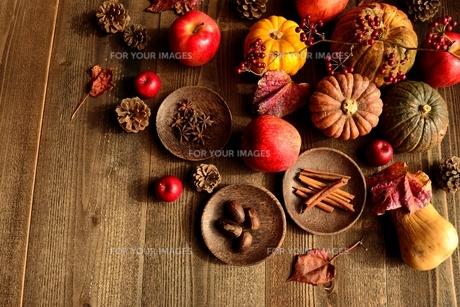 南瓜と林檎とスパイスの写真素材 [FYI00921040]