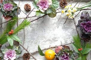 正月の花 銀色背景の写真素材 [FYI00921247]