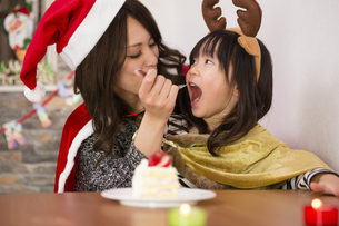 クリスマスケーキと親子の素材 [FYI00921799]
