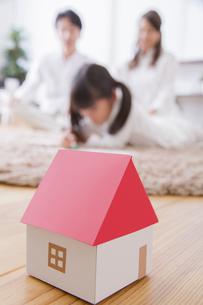 団欒する家族と家のミニチュアの写真素材 [FYI00922506]