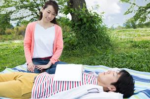 ピクニックをする夫婦の写真素材 [FYI00922569]