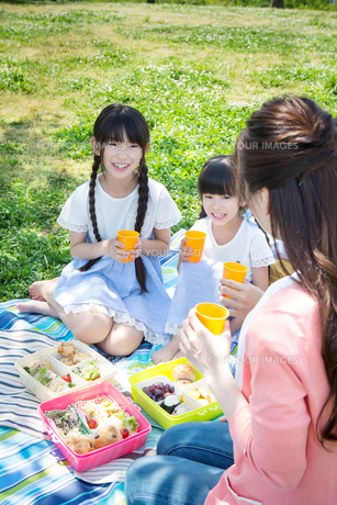 ピクニックをする家族の写真素材 [FYI00922599]