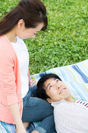 ピクニックをする夫婦の写真素材 [FYI00922604]