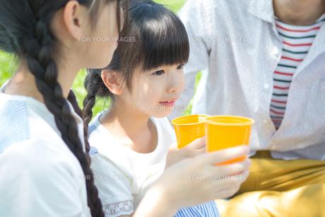 ピクニックをする家族の写真素材 [FYI00922611]