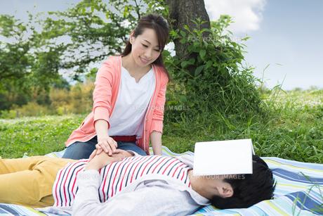 ピクニックをする夫婦の写真素材 [FYI00922613]