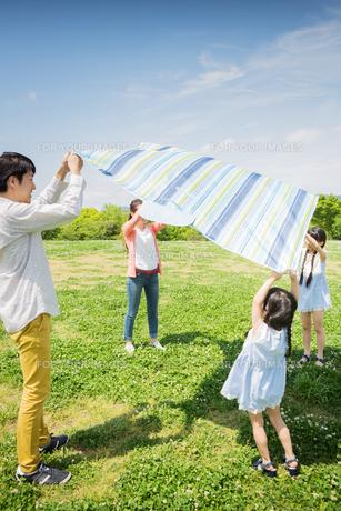 ピクニックをする家族の写真素材 [FYI00922627]