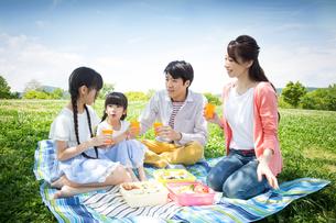 ピクニックをする家族の写真素材 [FYI00922642]