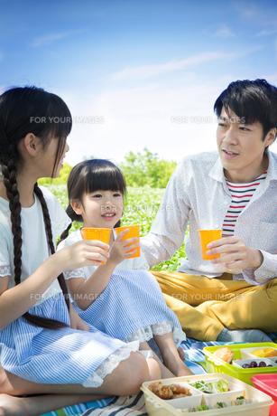 ピクニックをする家族の写真素材 [FYI00922659]