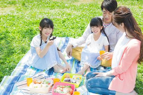ピクニックをする家族の写真素材 [FYI00922676]