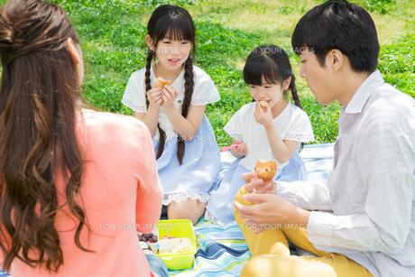 ピクニックをする家族の写真素材 [FYI00922689]