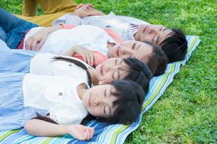 ピクニックをする家族の写真素材 [FYI00922697]