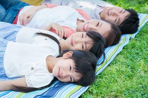 ピクニックをする家族の写真素材 [FYI00922701]