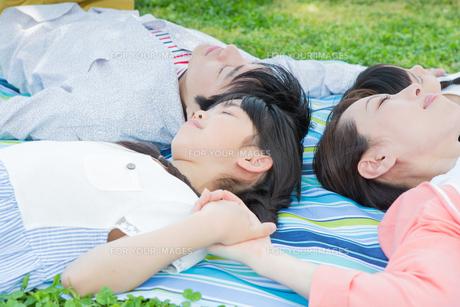 ピクニックをする家族の写真素材 [FYI00922720]