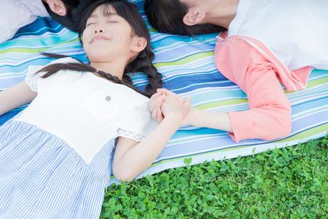 ピクニックをする家族の写真素材 [FYI00922723]