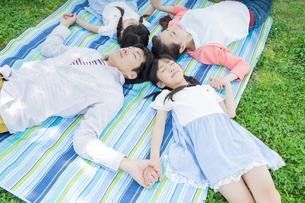 ピクニックをする家族の写真素材 [FYI00922725]
