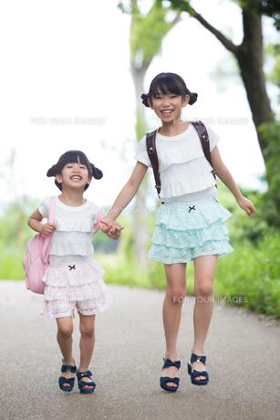 一緒に歩く姉妹の写真素材 [FYI00922749]