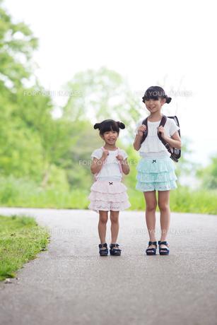一緒に歩く姉妹の写真素材 [FYI00922756]