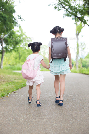 一緒に歩く姉妹の写真素材 [FYI00922782]