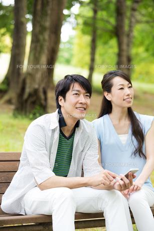 ベンチに座る夫婦の素材 [FYI00922823]