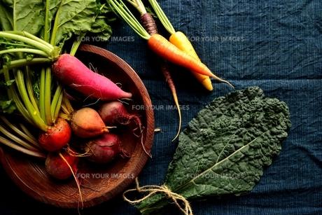 カラフルな根菜と黒キャベツ の写真素材 [FYI00922963]