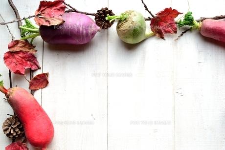 冬のカラフルな根菜と枯葉 白木材背景 の写真素材 [FYI00922981]