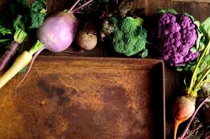 紫と緑色の冬野菜と錆びたトレーの写真素材 [FYI00924401]