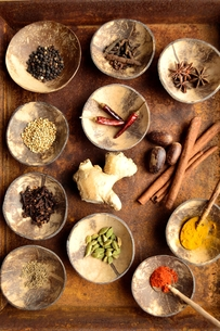 錆びたトレーとインド料理の食材の写真素材 [FYI00924633]