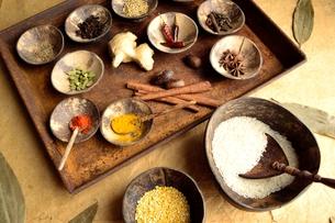 錆びたトレーとインド料理の食材の写真素材 [FYI00924635]
