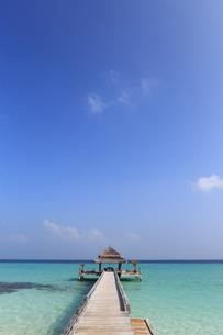 モルディブの桟橋とコテージの素材 [FYI00933447]