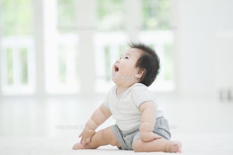 見上げながら笑う赤ちゃんの素材 [FYI00934600]