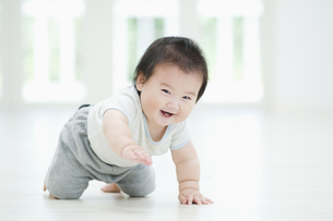 笑いながらハイハイする赤ちゃんの素材 [FYI00934608]