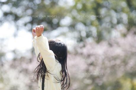 両手を上げる女の子の素材 [FYI00934757]