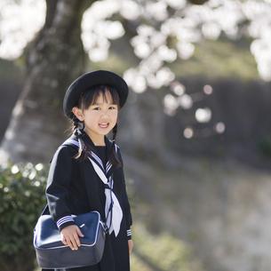 桜の木の下で笑う幼稚園児の素材 [FYI00935543]