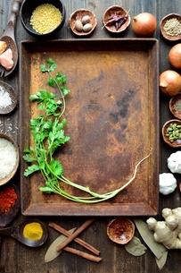 錆びたトレーとスパイスとコリアンダー インド料理の食材の写真素材 [FYI00941491]