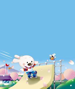 インラインスケートに乗るウサギのイラスト素材 [FYI00942271]