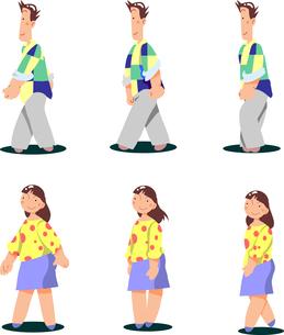 歩くポーズの男女のイラスト素材 [FYI00942272]
