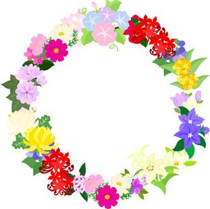 色々な花で作られたリースのイラスト素材 [FYI00942542]