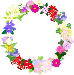 色々な花で作られたリースのイラスト素材 [FYI00942543]