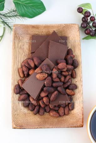 カカオ豆とチョコレートの写真素材 [FYI00942906]