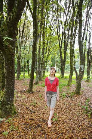 緑の中を歩く女性の素材 [FYI00944113]