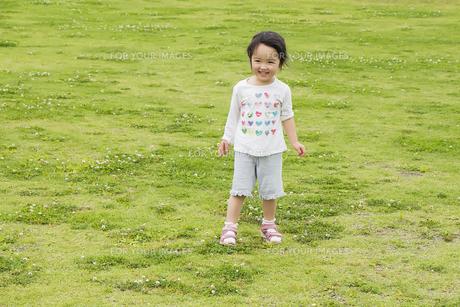 芝生の上で笑う女の子の素材 [FYI00944132]