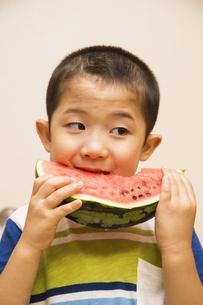 スイカを食べる坊主頭の男の子の素材 [FYI00944252]