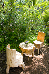 緑の中のテーブルセットの素材 [FYI00944890]