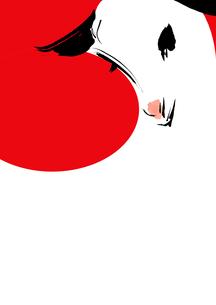 赤い円形と羊の頭の素材 [FYI00945527]