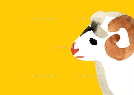 黄色地左向き角持つ羊の素材 [FYI00945798]