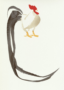 尾の長いニワトリ 水彩画の素材 [FYI00946046]