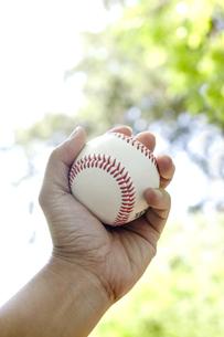 野球のボールを握る手の素材 [FYI00957473]