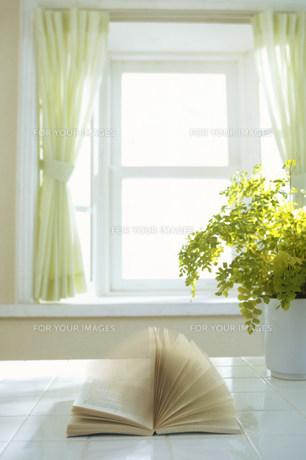 風でめくれる窓際の本の素材 [FYI00959910]
