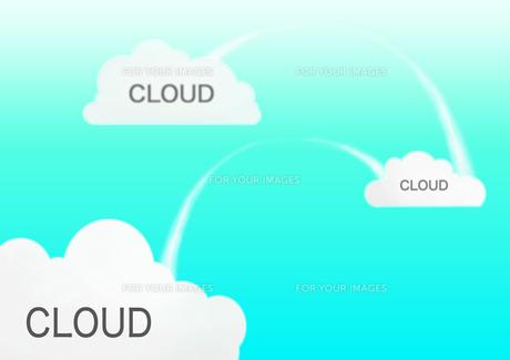 青い背景にクラウドと書かれた3つの雲の素材 [FYI00961195]